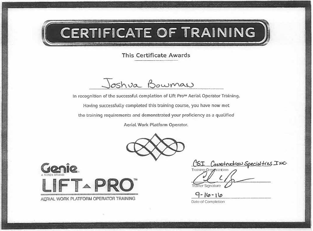 Certifications page 16 construction specialties inc jbowman aerial lift certification 1betcityfo Image collections