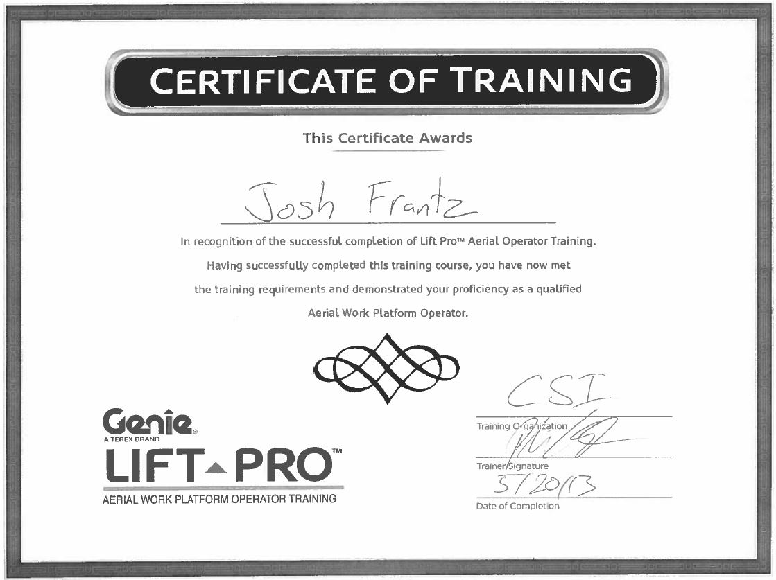 Certifications page 19 construction specialties inc aed 2017 jfrantz aerial lift certification 1betcityfo Images