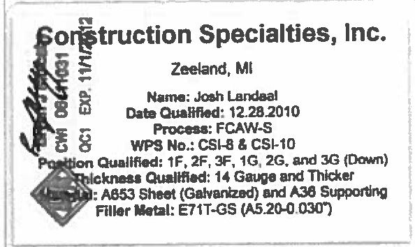 Certifications – Page 19 – Construction Specialties, Inc