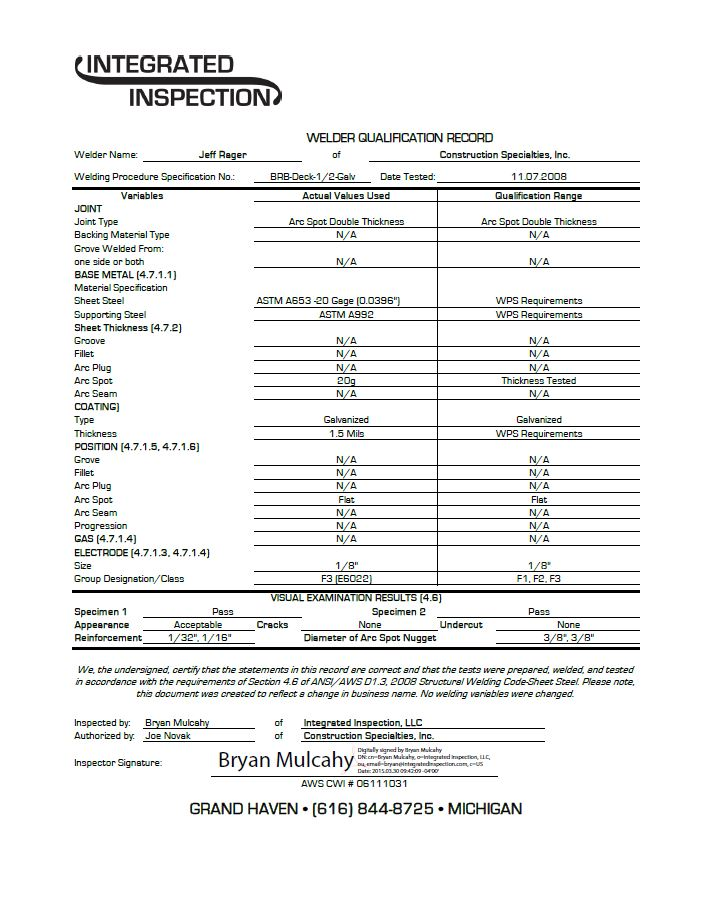 Certifications Page 20 Construction Specialties Inc