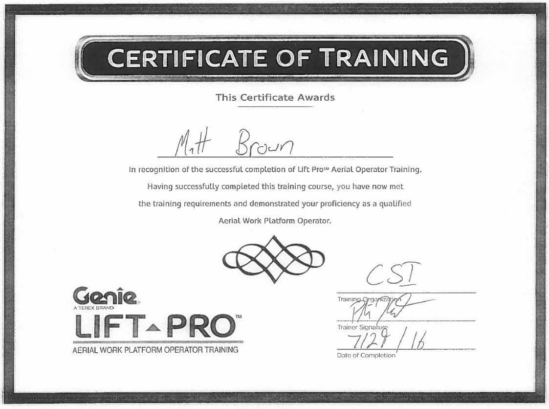 Certifications Page 17 Construction Specialties Inc