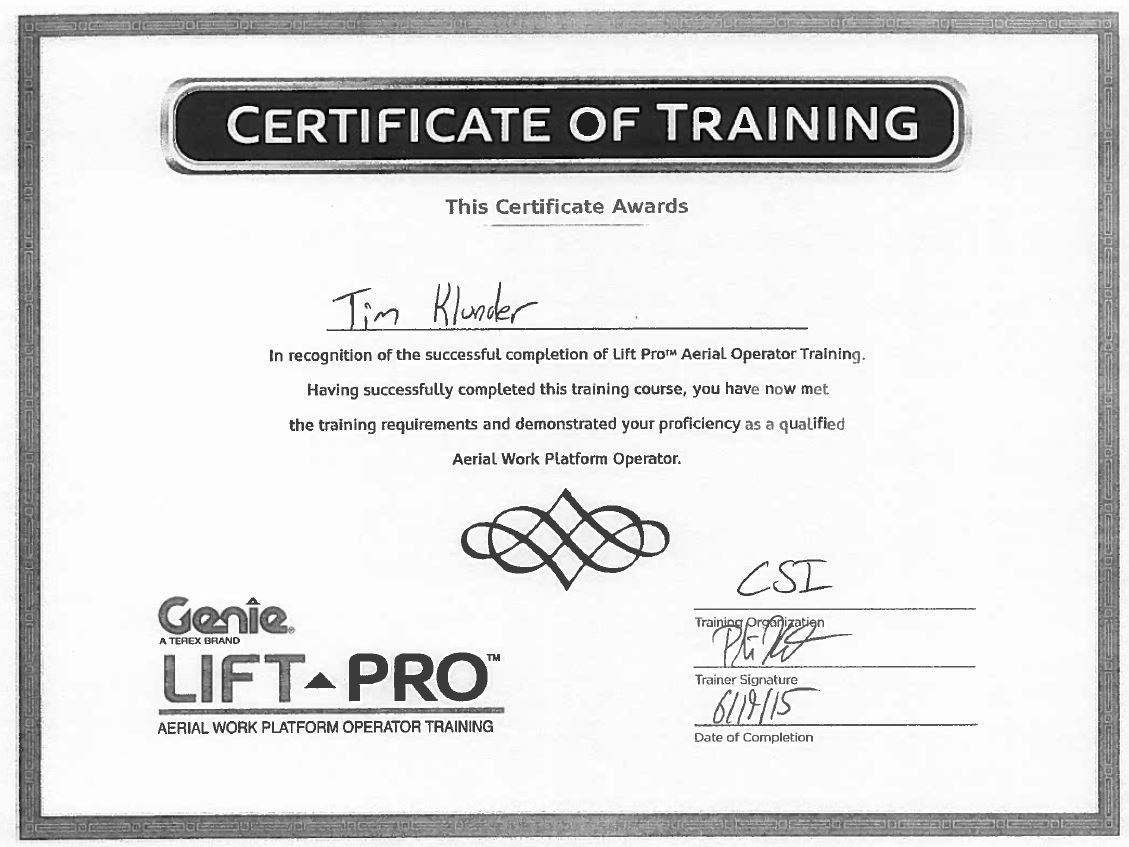 Certifications page 17 construction specialties inc osh 30 hour tkluder rigger certification tklunder aerial lift certification tklunder forklift 1betcityfo Choice Image